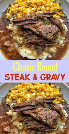 Round Steak & Gravy This recipe will feed a family of four. You can double the meat without having to adjust the onion and gravy. Cooker Recipes, Crockpot Recipes, Healthy Recipes, Meal Recipes, Beef Dishes, Food Dishes, Main Dishes, Beef Steak, Marinade Steak