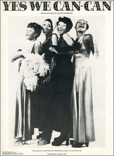 """The Pointer Sisters """"Yes We Can-Can"""" (1973) — Sheet Music"""