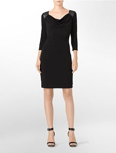 Image for elbow sleeve cowlneck matte jersey dress from Calvin Klein
