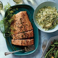 Roasted Side of Salmon with Shallot Cream | MyRecipes.com 12/13