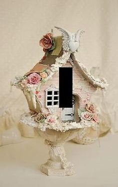 Vintage-Shabby-Chic-Birdhouse-light-switch-plate-wall-art-Home-Decor-USA-Made