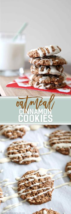 Dense, chewy cinnamon-y oatmeal cookies, drizzled with a rich maple cream cheese glaze, sing of the holiday season. These Oatmeal Cinnamon Cookies with Maple Cream Cheese Glaze make the perfect Christmas cookie.