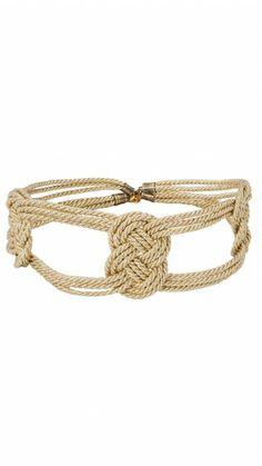 OLIVIA & CLOE - Cinturón tipo fajín con cordones de seda dorado - Dresseos