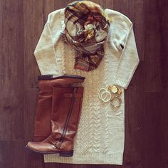 Sweater dresses and cozy scarves