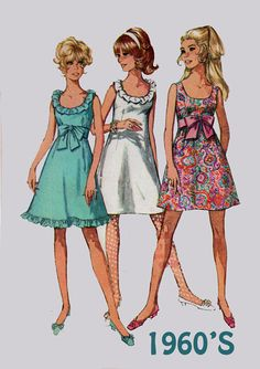 Vintage des années 1960 MOD robe sans manches a-ligne w / basse ronde décolleté patron de couture Simplicity 7629 60 s ère motif taille 12 buste 34