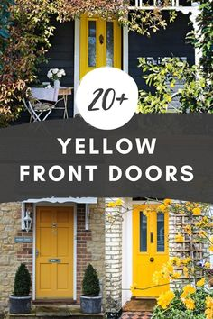 A yellow front door makes for a bright and cheery entrance, packed with personality! These homes include historic, brick, siding, and cottage-style homes, all with yellow front doors. Yellow Front Door Ideas | Mustard Front Door | Yellow Door Brick House | Yellow Door Blue House | Yellow Door Gray House