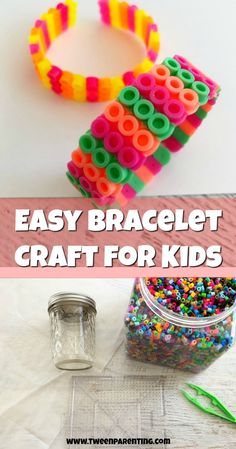 Easy Perler bead bracelet craft for kids. #kidscrafts #craftsforkids #perlerbeads