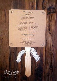 Wedding Program Fans Rustic Kraft & Lace DIY by paperandlaceaustin, $100.00