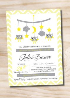 Owl Mobile Baby Grey and Yellow / Gray and by PaperHeartCompany, $16.00