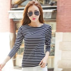 97fb1ddbcc7 Volocean 2017 Cotton Female T-shirt Striped Colorful T-shirts For Women  Classic CBottom T Shirt Woman Plus Size Top Tee 5XL