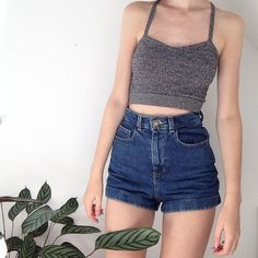 High Waist Cuffed Denim Shorts