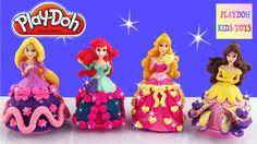 PlayDoh Disney Princess Dresses Ariel Aurora Belle Rapunzel Dress Playdo...