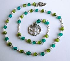 Witches Ladder Pagan Prayer Beads Tree of life Wicca Necklace Green / Turquise. £15.99, http://www.etsy.com/listing/102845826/witches-ladder-pagan-prayer-beads-tree