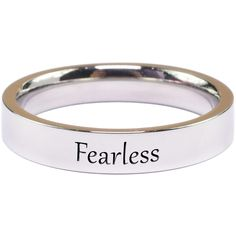 Pink Box Solid Stainless Steel Inspirational RingFearless/5 ($9.99) ❤ liked on Polyvore featuring jewelry, rings, jewelry & watches, silver, band rings, engraved stainless steel rings, band jewelry, pink jewelry and stainless steel rings