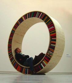 No, not seriously. The circular library by David Garcia Very interesting. The seesaw one is strangle but the circular one is compelling.Very interesting. The seesaw one is strangle but the circular one is compelling. Creative Bookshelves, Bookshelf Design, Round Bookshelf, Bookshelf Ideas, Custom Bookshelves, Shelving Ideas, Bookshelf Decorating, Bookshelf Inspiration, Round Shelf