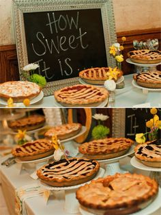 Instead of the traditional cupcakes or cake for dessert, how about a pie bar. Pie Bar Wedding, Wedding Desserts, Fun Desserts, Wedding Reception, Table Wedding, Wedding Catering, Diy Wedding, Buffet Dessert, Pie Dessert