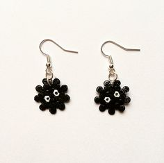 Super-cute Soot Sprite earrings, inspired by Studio Ghibli! Handmade using mini Hama / Perler beads with silver-plated earrings. The design