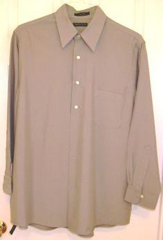 Van Heusen Olive Green L/S Dress Shirt Men's Size Large 16-16 ½ #VanHeusen