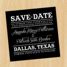 Cowboy Fun - Black and White - Save the Date (DIY Printable). $25.00, via Etsy.