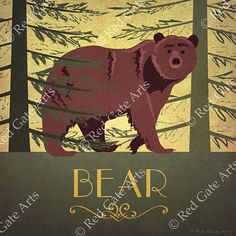 Bear - Designed by Ruth Sampson, from the Animal Alphabet Series  Image size - 7 x 7 inches (with an additional 5mm boarder around this to allow for framing)  Printed on high quality, thick 300gsm Castillo Pearl paper with a slight texture  Posted flat in a sturdy envelope.  All our prints are original designs created by us.  Thank you!  Red Gate Arts  PLEASE NOTE!  This sale is for an unframed print. The © Red Gate Arts diagonal text you see on the picture is a watermark and will not be on…