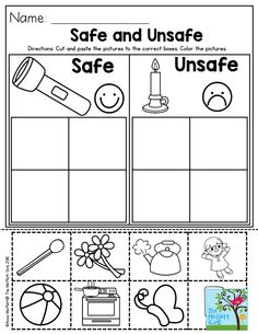 Safe and Unsafe- Great activity to help teach preschool students about safety!