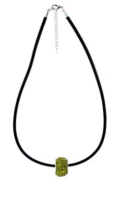 Crystal Bead Necklace - Olive Green on Black Cord (N700)