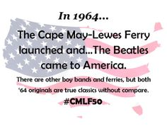 """7 days until fireworks and all our 50th anniversary celebrations! And, the 50th anniversary of the Beatle's song """"8 Days Week!"""" Start planning to join us now for all the free ferry fun! #CMLF50 #FerryFun"""