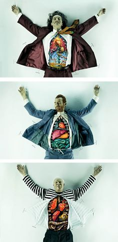 Salvador Dalí, Vincent Van Gogh, and Pablo Picasso dissected. By advertising firm DDB Brazil for São Paulo Art School.