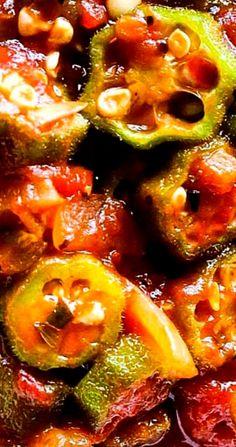 okra and tomatoes * okra recipes ; okra and tomatoes ; okra and tomatoes southern ; Vegetable Side Dishes, Vegetable Recipes, Vegetarian Recipes, Cooking Recipes, Healthy Recipes, Vegetarian Cooking, Easy Cooking, Easy Recipes, Vegetarian Barbecue