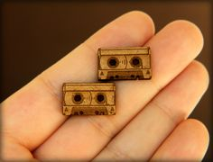 Cassette Studs, Laser Cut Wood Earrings.// @Christina & Dezuanni Fullen