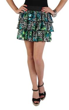 turquoise floral cheetah printed lace triple tier skirt
