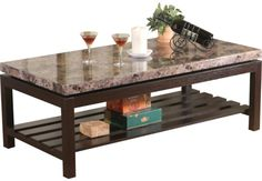Cocoa-Finished Cocktail Table w/Faux Marble Top
