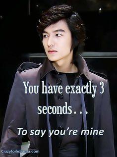 You have exactly 3 seconds. to say you're mine Lee Min Ho Boys Before Flowers, Boys Over Flowers, Korean Celebrities, Korean Actors, Geum Jan Di, Ji Hoo, Playful Kiss, Korean Shows, Kim Bum