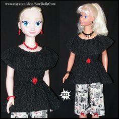My Size BARBIE ELSA & ANNA Dolls Black Hanky Style by SewDollyCute
