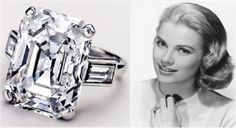 Prince Rainier III originally proposed to Grace Kelly with a Cartier eternity band of diamond and rubies. He later purchased this 10.47 carat emerald cut engagement ring.