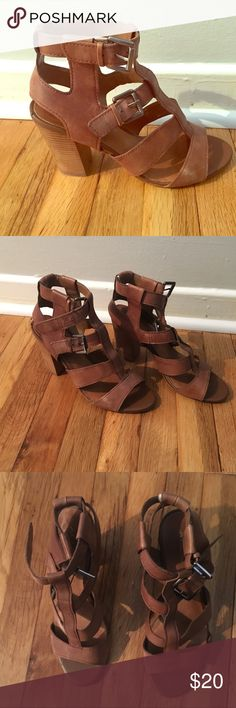 Aldo Double Buckle Chunky Heels Aldo double buckle brown open toed chunky heels  3 in heels  Pre-loved with small tear on each heel. See pictures. Aldo Shoes Heels