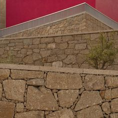 Image 2 of 11 from gallery of Tourist Office and Landscaping of Quinta do Aido / CG+LSC. Photograph by Ana Neiva Landscape Elements, Landscape Walls, Facade Architecture, Contemporary Architecture, Gabion Wall, Tourist Office, Exterior, Sidewalk, Landscaping