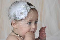 Baptism Baby Headband Christening Flower Girl by nanarosedesigns, $20.00