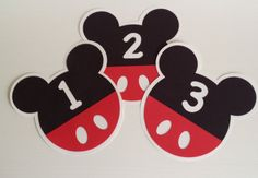 Mickey Mouse Table Number Signs for a Birthday Party or Classroom