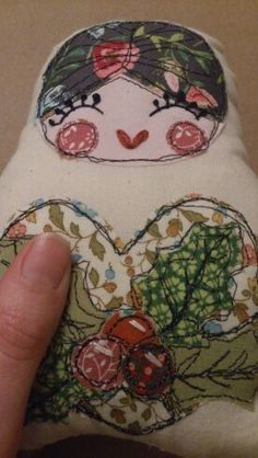 RaeBattesonArt copyright 2014 Embroidered Russian Doll Christmas Decoration