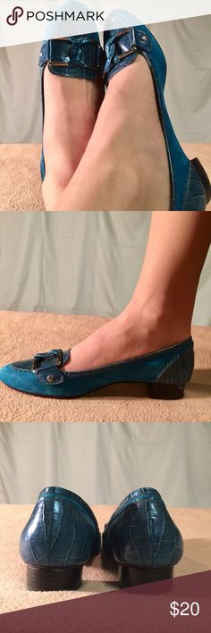 Cole Haan Blue Suede/Leather Heeled Loafers These shoes have been Very Gently Worn and are in EXCELLENT CONDITION other than the usual bottom wear. The heel is in perfect condition. The heel height of this shoe is 1 inch tall and is a B width. Cole Haan Shoes Heels