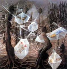 Varo, Remedios (1908-1963) - 1948 Allegory of Winter (Private Collection), for more please visit http://www.painting-in-oil.com/artworks-Kahlo-Frida-page-1-delta-ALL.html