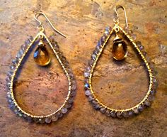 Gold filled tear drop hoop earrings with labradorite and citrine