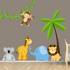 Reusable Jungle Animal Nursery Scene  by DecalCustomCreations, $120.00