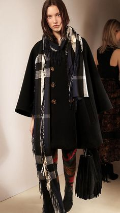 Marine blue The Long Fringe Scarf in Check Cashmere - Burberry