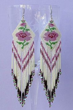 Image result for seed bead rose earrings