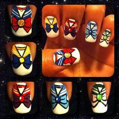 Sailor Moon Nails. Hahaha I miss sailor moon!!