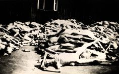 Buchenwald, Germany, A pile of corpses beside a barrack in the camp, after the liberation.