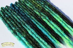 Black Green and Blue Crochet Synthetic Dreads x 10 DE - Accent