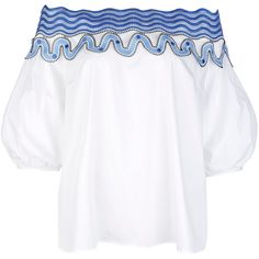 Peter Pilotto White Off-The-Shoulder Pallas Blouse ($685) ❤ liked on Polyvore featuring tops, blouses, white off shoulder top, cotton blouse, white blouse, white short sleeve blouse and off the shoulder tops